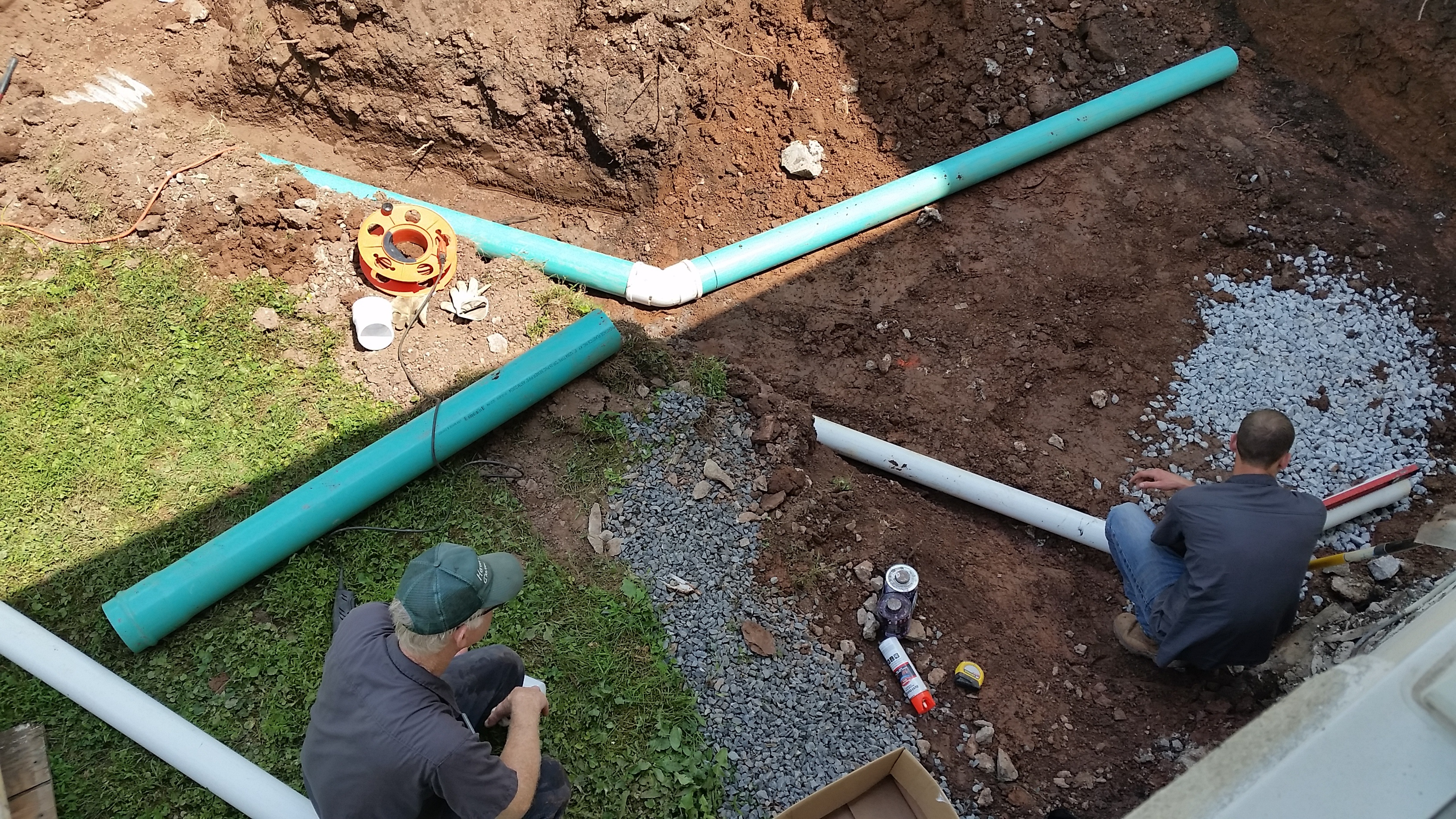 July 5_2018_Laying_out_the_drainage_and_runoff_pipes